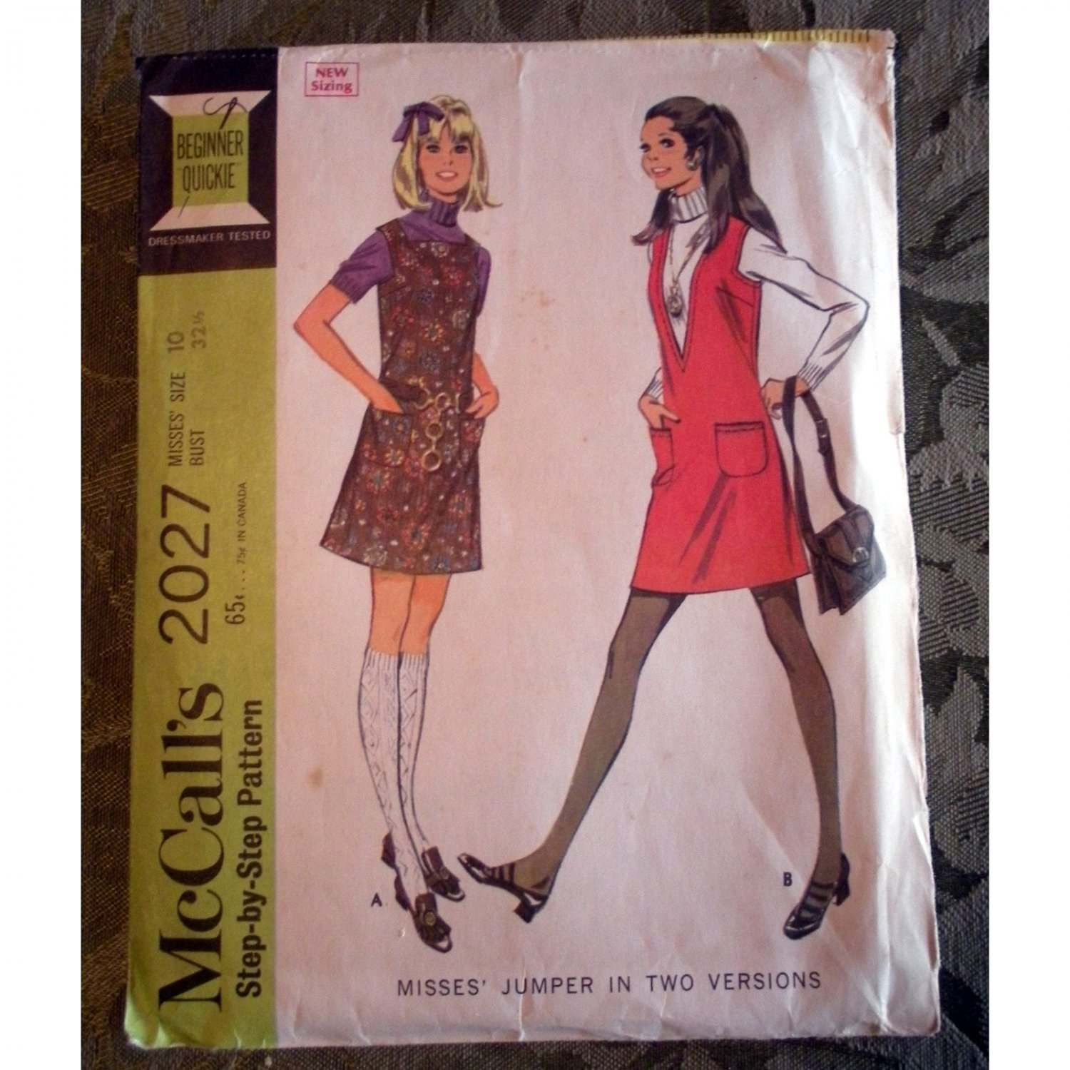 Vintage 1960s McCalls 2027 Size 10 Misses' Jumper in Two Versions Sewing Pattern
