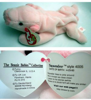 d5751ced7b8 Ty Beanie Baby Squealer the Pig 4005