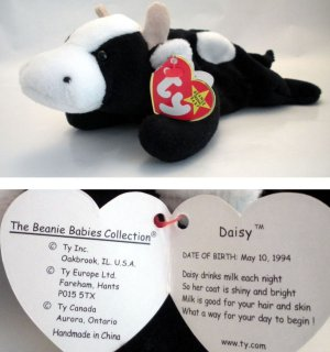 e6560b2657b Ty Beanie Baby Daisy the Cow Black   White