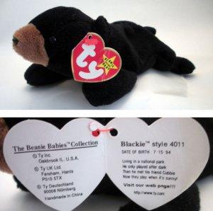 6f07a8f6d88 Ty Beanie Baby Blackie the Bear Black Style   4011