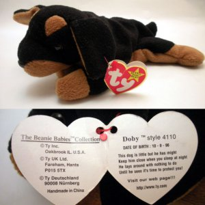 75fbd895da4 Ty Beanie Baby Doby the Dog Doberman Style   4110