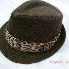 Brown Fedora Hat w/Leopard Ribbon