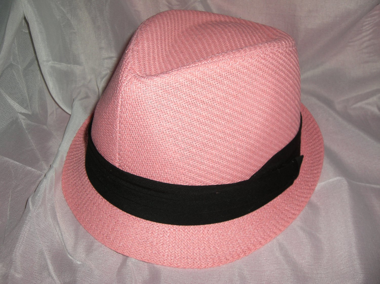 Pink Fedora Hat w/Black Ribbon