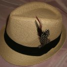 Beige Fedora Hat w/Black Ribbon and Feather