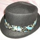Black Fedora Hat w/Black floral Ribbon