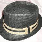 Black Fedora Hat w/Black and beige Ribbon