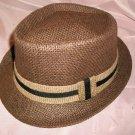 Brown Fedora Hat w/Black and beige Ribbon