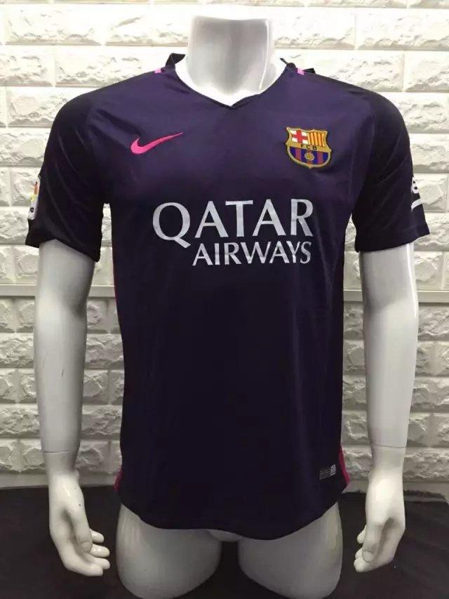 16/17 Barcelona Away Soccer Jersey Shirt Shorts Kit Sport Uniform