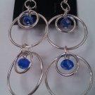 Silver Hoop & Blue Crystal Earrings