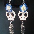 White Skull Flower & Rhinestone Earrings