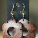 Hand Carved Wooded Flower Earrings