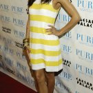 Eva Longoria 8x10 Photo - White & Yellow Stripe Dress #3