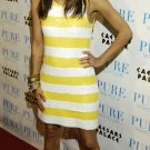 Eva Longoria 8x10 Photo - White & Yellow Stripe Dress #4