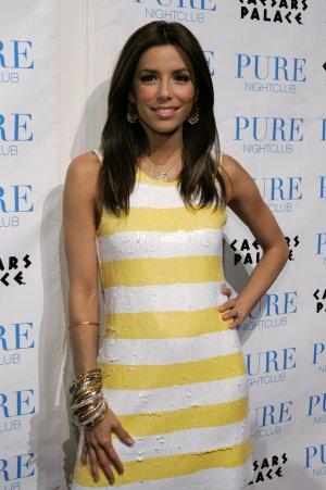 Eva Longoria 8x10 Photo - White & Yellow Stripe Dress #8