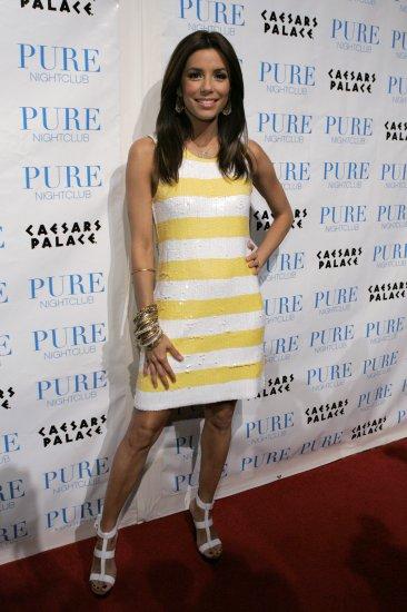 Eva Longoria 8x10 Photo - White & Yellow Stripe Dress #11