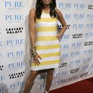 Eva Longoria 8x10 Photo - White & Yellow Stripe Dress #11