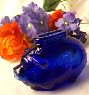 Cobalt Blue Glass Pig Bank