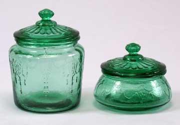 Green Glass Cookie Jar Set