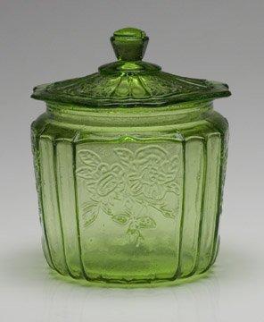 Light Green May Fair Style Open Roase Cookie Jar