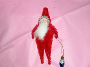 Chenille Santa RED 5 inches cotton beard with ornament