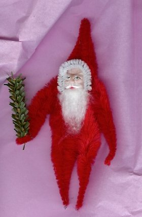 Chenille Santa RED 5  inch  clay face twig