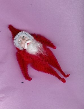 Chenille Santa RED 3.75  inch  clay face