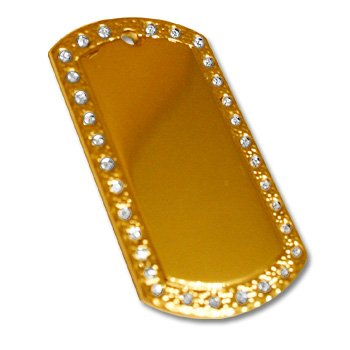 14 K gold over Sterling Rhinestone Dog tag - Picture or Text
