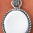 SS OVAL ENGRAVABLE ROPED CHARM Picture or Text