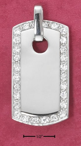 SS LARGE HIGH POLISH DOG TAG PENDANT WITH CZ BORDER
