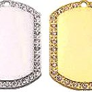 Wide Silver Rhinestone Jewelry dog tag with ball chain