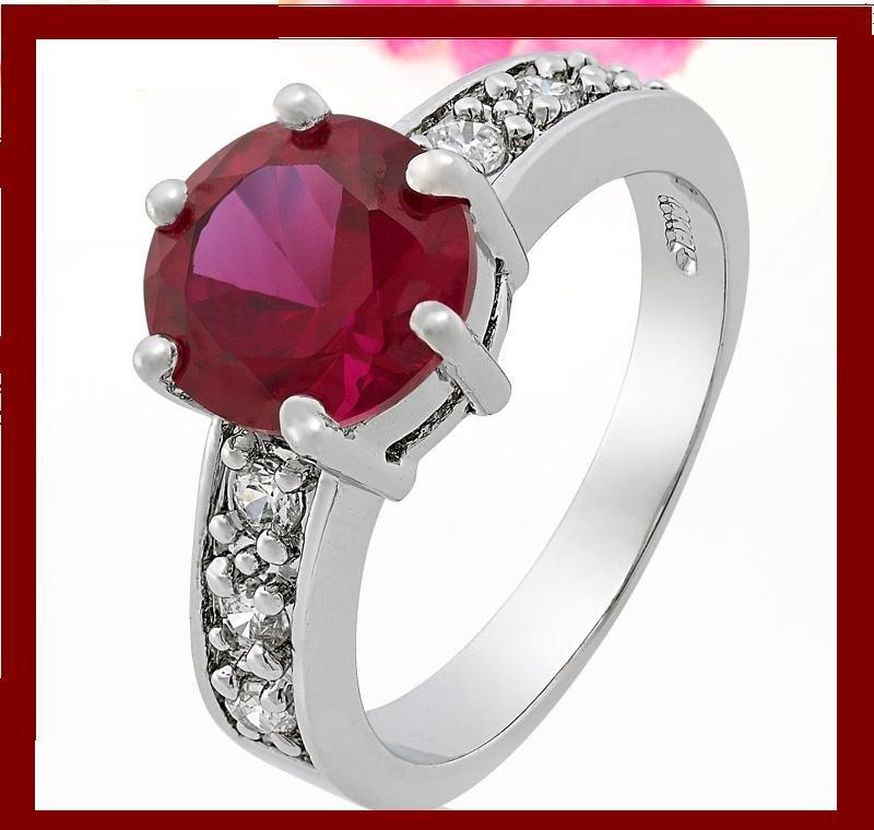 Red Garnet Gem 18k White Gold Plated Ring Sz 6