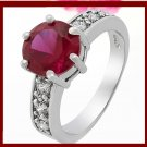 Red Garnet Gem 18k White Gold Plated Ring Sz 6