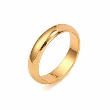 18K Yellow Gold Plated Women/Men Plain Ring Band - SZ 8 (3.5mm)