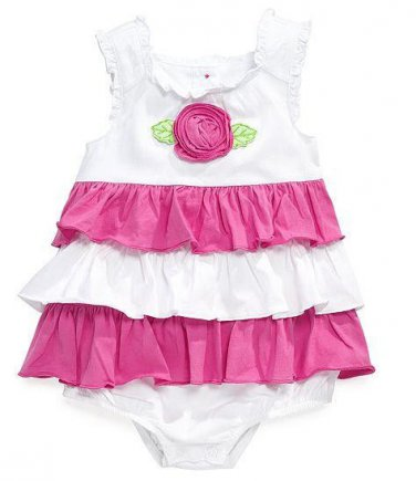 First Impressions Pop Pink Baby Girls Romper Ruffled Bodysuit 3-6Months 3-6Month