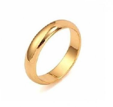 18K Yellow Gold Filled Women/Men Plain Ring Band  SZ 10 (3.5mm)