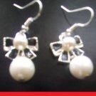 pearl-Like Black Bow Drop women/Girls Drop Dangle earrings