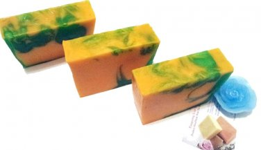 'Moroccan Mint'- Homemade All natural Carrot Aloe Bath soap .