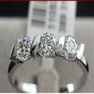 18k White Gold Plated 3 stones  Women's Ring Sz 7