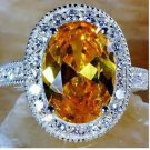 18k White GP Yellow Solitaire with Accents Fashion Ring  -size 7