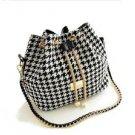 New Bohemia Style Print Chain Drawstring Bucket Messenger Black & White Handbag