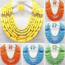 African Fashion Wedding Multilayers Acrylic Beads Necklace & Earrings