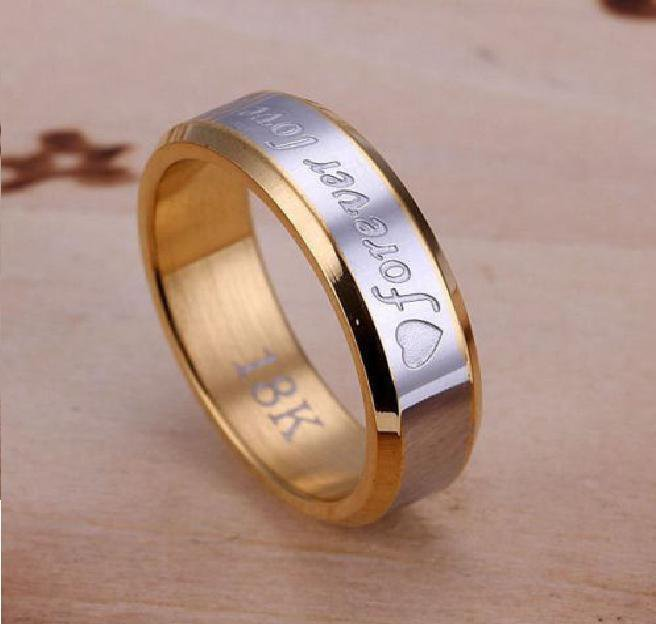 18k Gold Plated Forever Love Wedding Band Ring Size 10 (6mm)