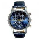 Ladies Leather Strap Fashion Blue Wrist Watch