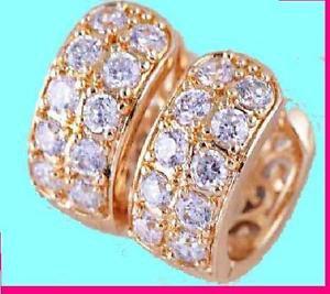 Gold Plated Women/girls white Cz Hoop Small Earrings -14mm