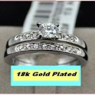 18k Gold Plated CZ Accent Wedding/engagement solitaire Ring Set - size 9
