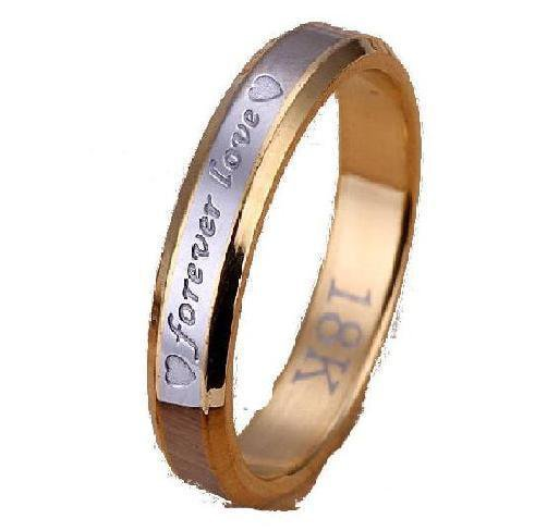 18k Gold Plated Forever Love Wedding Band Ring Size 7 (3mm)