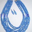 Orange African Wedding Multi-layers Acrylic Beads Necklace & Earrings Set