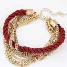 Gold Plated Chain Braided Bugundy Red Twisted Rope Multilayer Bracelet