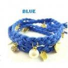 Braided Leather Royal Blue Bracelet Wristband Strand