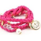 Braided Leather Pink Bracelet Wristband Strand .
